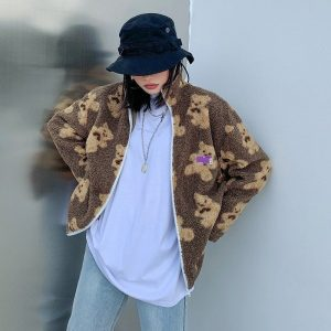 Сartoon Bear Lamb Loose Jacket 1 - My Sweet Outfit - EGirl Outfits - Soft Girl Clothes Aesthetic