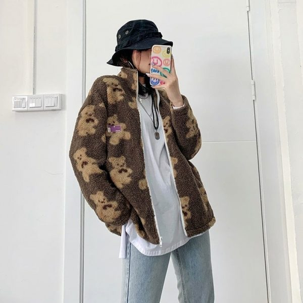 Сartoon Bear Lamb Loose Jacket 4 - My Sweet Outfit - EGirl Outfits - Soft Girl Clothes Aesthetic