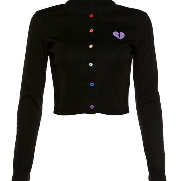 Сolored Button Broken Heart Cardigan 2 - My Sweet Outfit - EGirl Outfits - Soft Girl Clothes