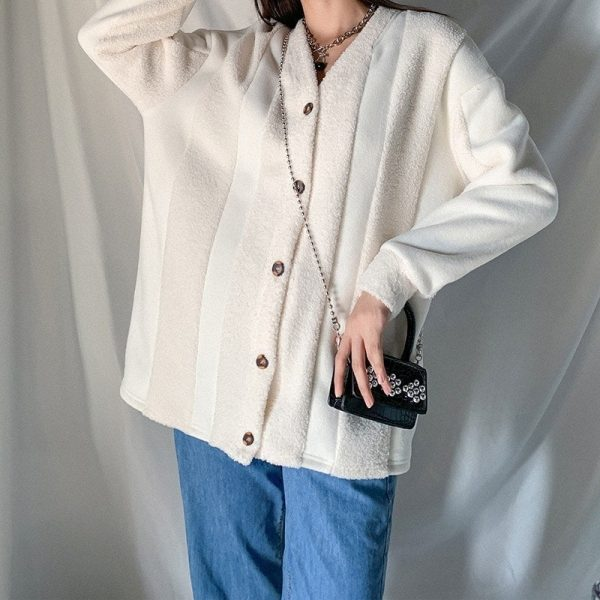 Autumn White Retro Jacket 1 - My Sweet Outfit - EGirl Outfits - Soft Girl Clothes
