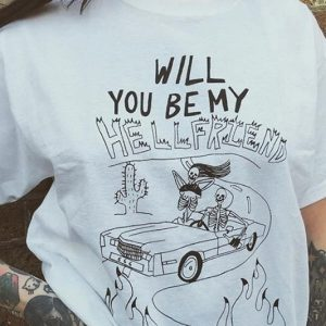Be My Hellfriend White T-Shirt 1 - My Sweet Outfit - EGirl Outfits - Soft Girl Clothes