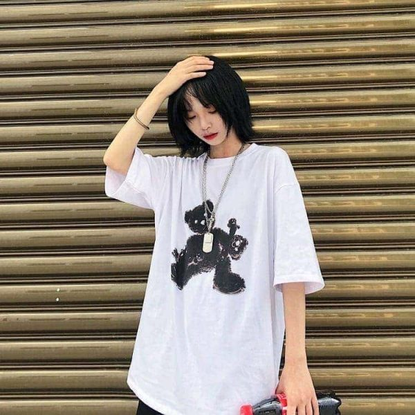 Black Bear White Oversized T-shirt 1 - My Sweet Outfit - EGirl Outfits - Soft Girl Clothes (3)