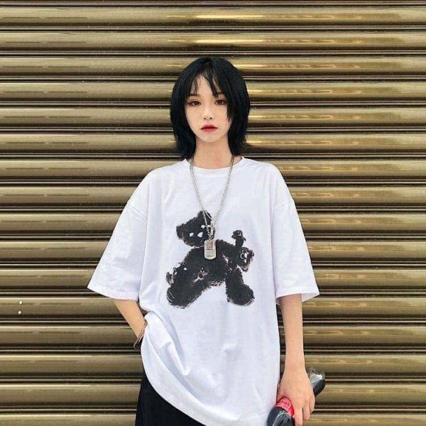 Black Bear White Oversized T-shirt 2 - My Sweet Outfit - EGirl Outfits - Soft Girl Clothes (4)