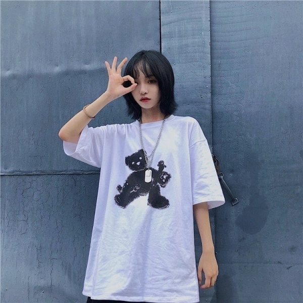 Black Bear White Oversized T-shirt - My Sweet Outfit - EGirl Outfits - Soft Girl Clothes (2)