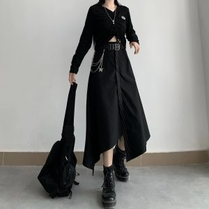 Black High Skirt With Chain Belt 1 - My Sweet Outfit - EGirl Outfits - Soft Girl Clothes