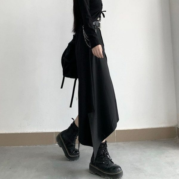 Black High Skirt With Chain Belt 2 - My Sweet Outfit - EGirl Outfits - Soft Girl Clothes