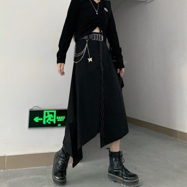 Black High Skirt With Chain Belt 3 - My Sweet Outfit - EGirl Outfits - Soft Girl Clothes