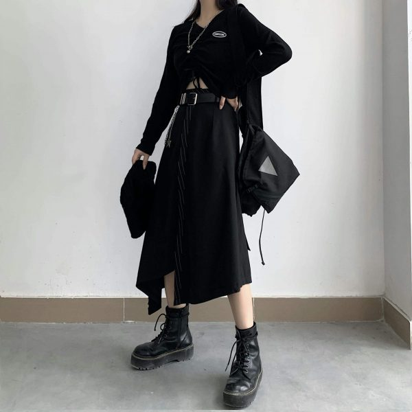Black High Skirt With Chain Belt 4 - My Sweet Outfit - EGirl Outfits - Soft Girl Clothes