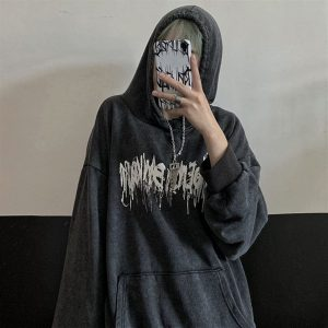 Black Metalcore Print Hoodie 1 - My Sweet Outfit - EGirl Outfits - Soft Girl Clothes