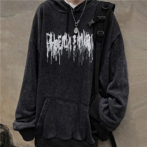 Black Metalcore Print Hoodie 2 - My Sweet Outfit - EGirl Outfits - Soft Girl Clothes