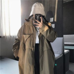 Khaki Oversized Jacket With Pockets 3 - My Sweet Outfit - EGirl Outfits - Soft Girl Clothes
