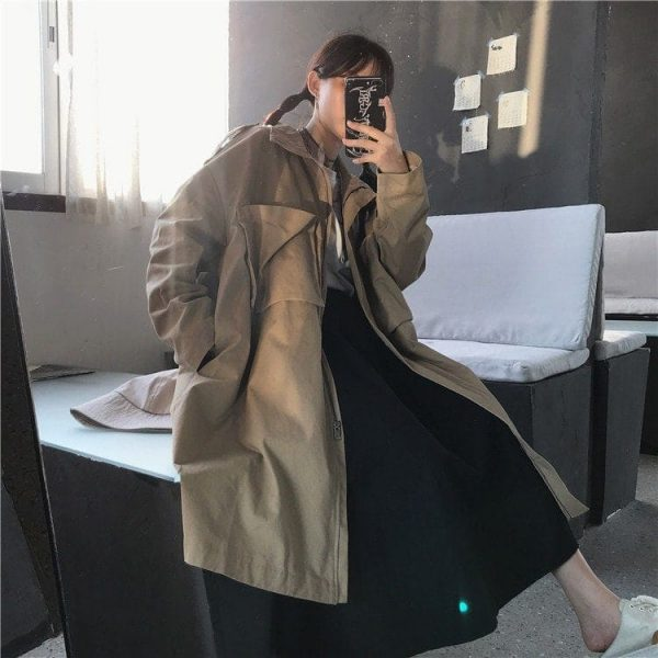 Khaki Oversized Jacket With Pockets 4 - My Sweet Outfit - EGirl Outfits - Soft Girl Clothes