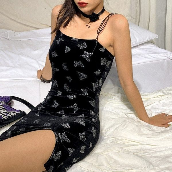 Black Shiny Butterflies Tight Dress 3 - My Sweet Outfit - EGirl Outfits - Soft Girl Clothes