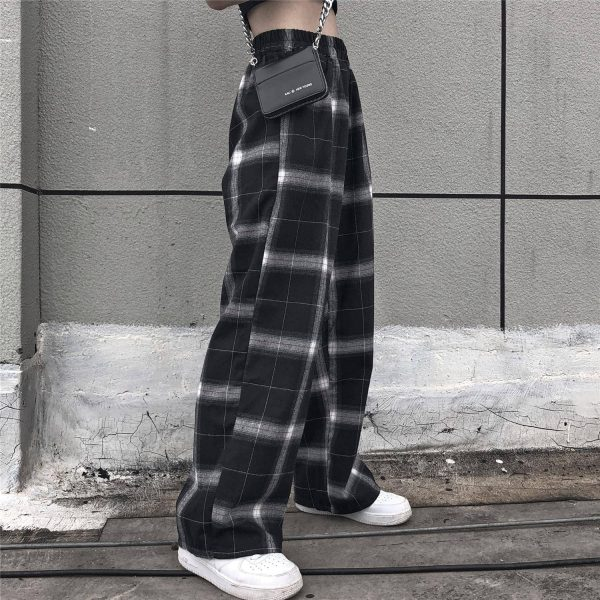 Black Straight Leg Pants in White Check 3 - My Sweet Outfit - EGirl Outfits - Soft Girl Clothes