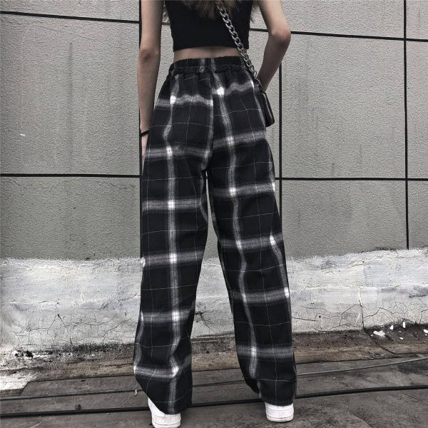 Black Straight Leg Pants in White Check 4 - My Sweet Outfit - EGirl Outfits - Soft Girl Clothes