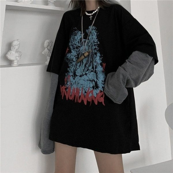 Black Virgin Mary Sweatshirt 3 - My Sweet Outfit - EGirl Outfits - Soft Girl Clothes