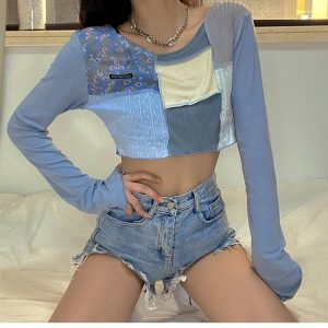 Blue Colorblock Thin Top 4 - My Sweet Outfit - EGirl Outfits - Soft Girl Clothes