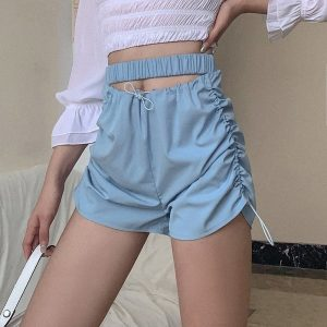 Blue Elastic Waist Shorts 1 - My Sweet Outfit - EGirl Outfits - Soft Girl Clothes