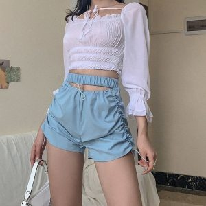 Blue Elastic Waist Shorts 2 - My Sweet Outfit - EGirl Outfits - Soft Girl Clothes