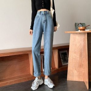 Blue Loose High Waist Jeans 1 - My Sweet Outfit - EGirl Outfits - Soft Girl Clothes