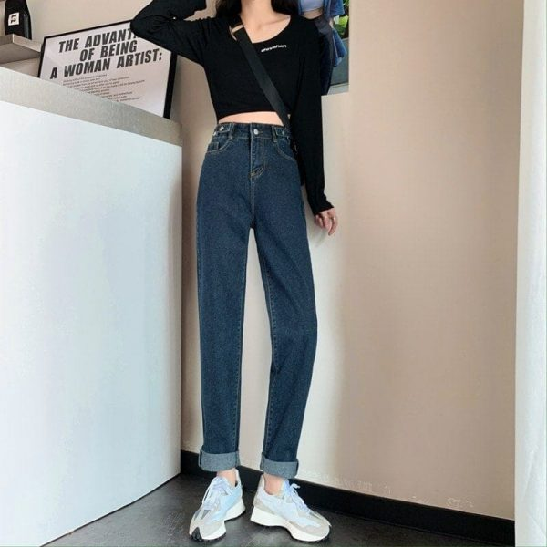 Blue Loose High Waist Jeans 3 - My Sweet Outfit - EGirl Outfits - Soft Girl Clothes