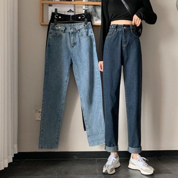 Blue Loose High Waist Jeans 4 - My Sweet Outfit - EGirl Outfits - Soft Girl Clothes