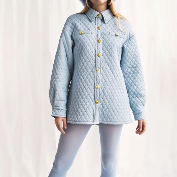 Blue Retro 60s Style Coat 4 - My Sweet Outfit - EGirl Outfits - Soft Girl Clothes Aesthetic