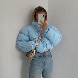 Blue Short Puffed Drawstring Jacket 1 - My Sweet Outfit - EGirl Outfits - Soft Girl Clothes Aesthetic