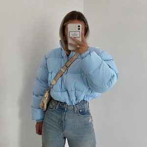Blue Short Puffed Drawstring Jacket 2 - My Sweet Outfit - EGirl Outfits - Soft Girl Clothes Aesthetic