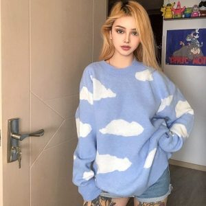 Blue Sky Clouds Soft Girl Knitted Sweater 1- My Sweet Outfit Shop - EGirl Outfits - Soft Girl Clothes