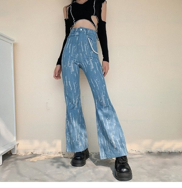 Blue Worn-Out Flared Jeans 1 - My Sweet Outfit - EGirl Outfits - Soft Girl Clothes