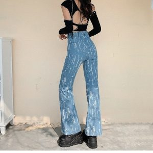 Blue Worn-Out Flared Jeans 3 - My Sweet Outfit - EGirl Outfits - Soft Girl Clothes