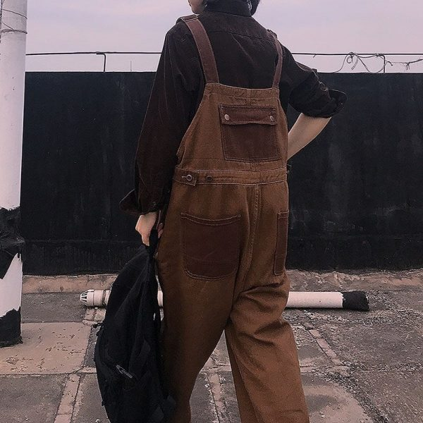 Brown Wide Jumpsuit With Pockets 2 - My Sweet Outfit - EGirl Outfits - Soft Girl Clothes