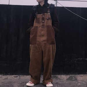 Brown Wide Jumpsuit With Pockets 3 - My Sweet Outfit - EGirl Outfits - Soft Girl Clothes
