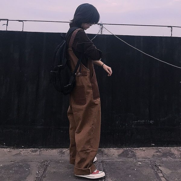 Brown Wide Jumpsuit With Pockets 4 - My Sweet Outfit - EGirl Outfits - Soft Girl Clothes