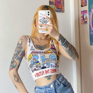 Cartoon Print Short Top 1 - My Sweet Outfit - EGirl Outfits - Soft Girl Clothes