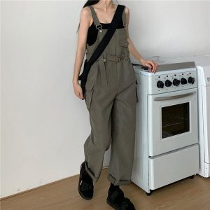 Casual Wide Jumpsuit With Belt And Pockets 1 - My Sweet Outfit - EGirl Outfits - Soft Girl Clothes