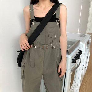 Casual Wide Jumpsuit With Belt And Pockets 2 - My Sweet Outfit - EGirl Outfits - Soft Girl Clothes