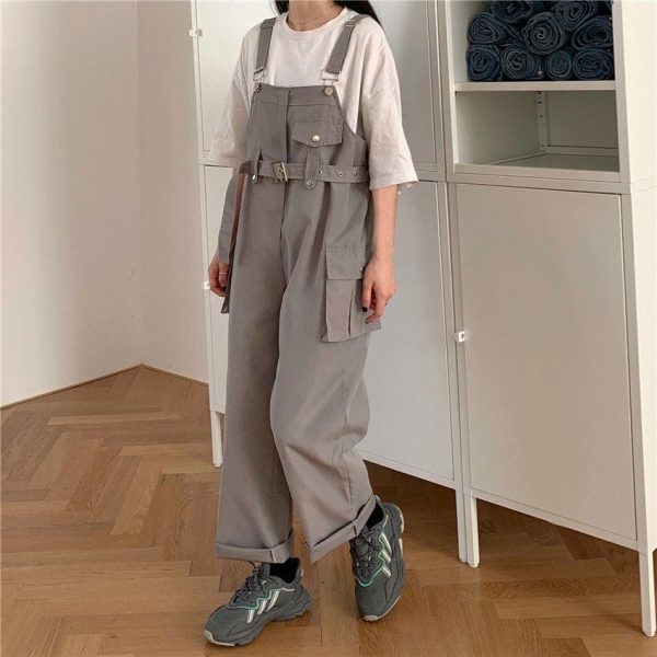 Casual Wide Jumpsuit With Belt And Pockets 3 - My Sweet Outfit - EGirl Outfits - Soft Girl Clothes