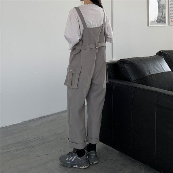 Casual Wide Jumpsuit With Belt And Pockets 4 - My Sweet Outfit - EGirl Outfits - Soft Girl Clothes