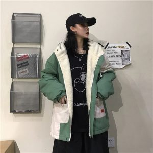 Colorblock Cotton-Padded Korean Style Coat 1 - My Sweet Outfit - EGirl Outfits - Soft Girl Clothes Aesthetic