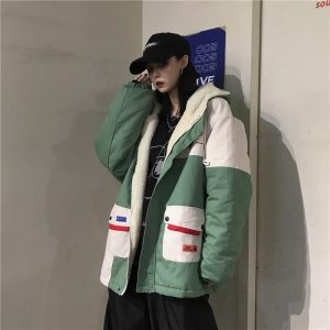 Colorblock Cotton-Padded Korean Style Coat 4 - My Sweet Outfit - EGirl Outfits - Soft Girl Clothes Aesthetic
