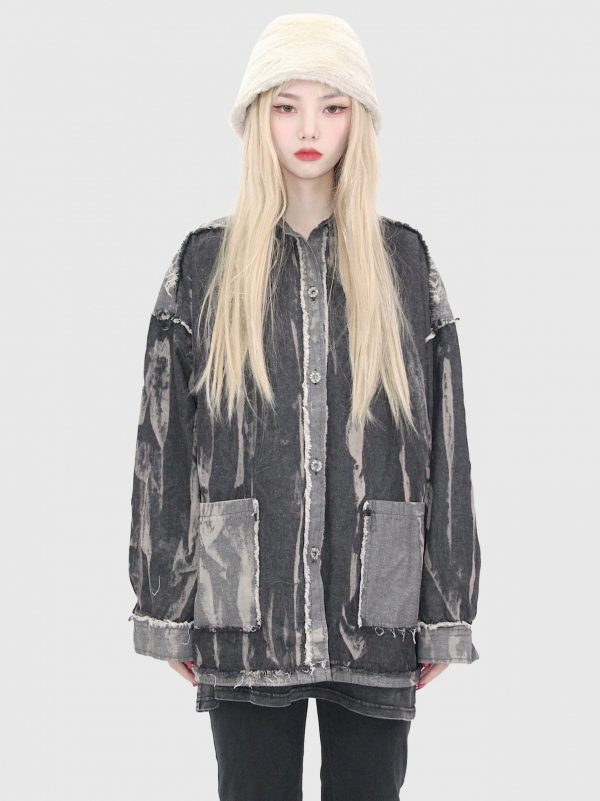 Colorblock Ripped Loose Jacket 1 - My Sweet Outfit - EGirl Outfits - Soft Girl Clothes