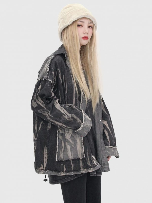 Colorblock Ripped Loose Jacket 2 - My Sweet Outfit - EGirl Outfits - Soft Girl Clothes