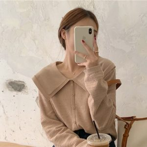 Cream Soft Girl Collar Sweater 1 - My Sweet Outfit - EGirl Outfits - Soft Girl Clothes