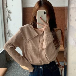 Cream Soft Girl Collar Sweater 2 - My Sweet Outfit - EGirl Outfits - Soft Girl Clothes