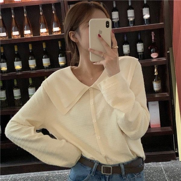 Cream Soft Girl Collar Sweater 4 - My Sweet Outfit - EGirl Outfits - Soft Girl Clothes