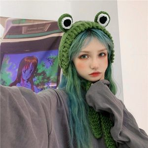 Cute Knitted Frog Hat 1 - My Sweet Outfit - EGirl Outfits - Soft Girl Clothes