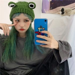 Cute Knitted Frog Hat 2 - My Sweet Outfit - EGirl Outfits - Soft Girl Clothes