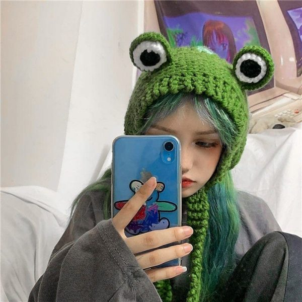 Cute Knitted Frog Hat 3 - My Sweet Outfit - EGirl Outfits - Soft Girl Clothes